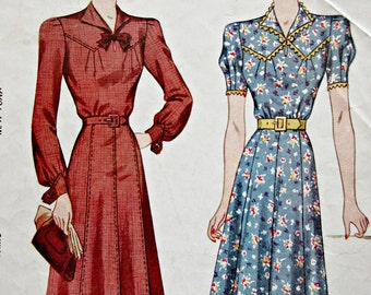 Vintage Simplicity 3264 Sewing Pattern, 1930s Dress Pattern, Day Dress Pattern, Bust 36, 1930s Sewing Pattern, Eight Gored Flared Skirt