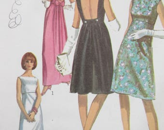 Vintage Simplicity 6939 Sewing Pattern, 1960s Dress Pattern, Backless Dress, Bust 34, Empire Dress Pattern Two Lengths, 1960s Sewing Pattern