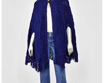 Vintage Hand Knit Shawl 70s Poncho Shawl Navy Blue Chevron Knit Cape Shawl Boho Hippie Festival Fringe Shawl Sweater Shawl