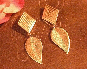 "YSL LEAF EARRINGS ~ Runway Yves St. Laurent Gold Toned Leaf Dangle Earrings ~ Sunset Sale ""TAKE10"" Coupon"