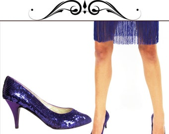 Shimmer Pumps Shoes Vintage BURLESQUE Sequin Sateen Pointed Shoes Jewel PURPLE // Vintage Clothing by TatiTati Vintage on Etsy