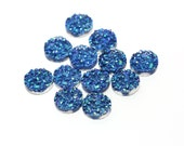 Iridescent Blue 12mm Faux Druzy Crystal Clusters Cabochons Chunky Nuggets Sfa0107