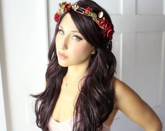 Rose flower crown, gold red crown, bridal, halo, summer, bride, festival, hair accessory, wreath, beach wedding, destion wedding, garden