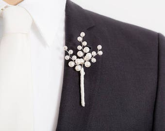 Creamy Ivory Pearl Boutonniere - Pearl Boutonniere for Weddings or Prom - White Boutonniere - Mens Boutonniere - Prom Boutonniere