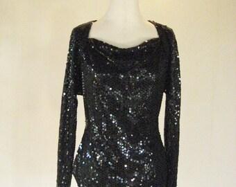 Sheer Back Black Sequin Shirt Top Diva Glam