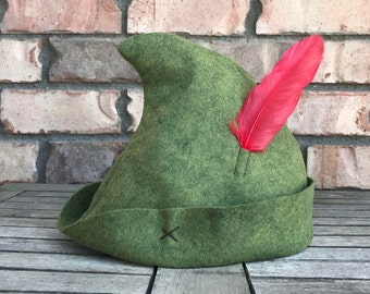 Olive Peter Pan Hat with Real Red Feather