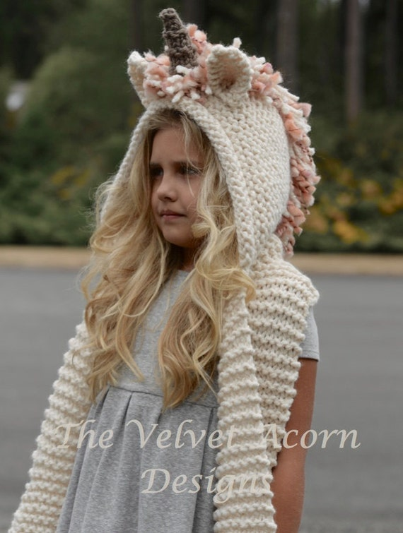 Knitting Pattern For Unicorn Hooded Scarf : Knitting PATTERN-The Unice Unicorn Hooded Scarf by ...