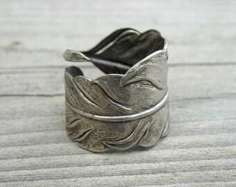 Vintage Silver Feather Wrap Around Ring Size 7 Ring Vintage Feather Ring Vintage Feather Jewelry Vintage Bohemian Boho Hippie Hippy Nature