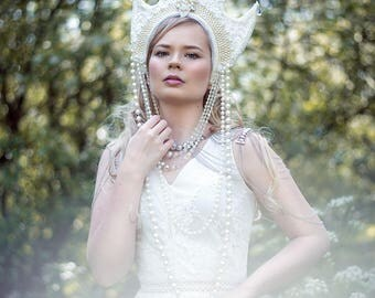 SALE White Pearl 'Arctis' Guipure Lace Beaded Couture Crystal Headdress