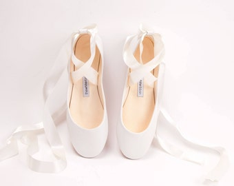 The Bridal Ballet Flats | Wedding Shoes | Flat Shoes for Brides | Swan Style Leather Ballet Flats in Pure White ... Made to Order