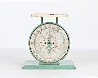 Turquoise Kitchen Scale Vintage Kitchen Scale Way Rite Kitchen Scale Rustic Scale Old Scale Rusty Scale Countertop Scale Turquoise and White