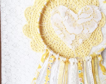 Love Catcher, Lace Large Dream Catcher, Sunshine Yellow and White, Nursery Decor, Baby Shower Gift, Gender Neutral