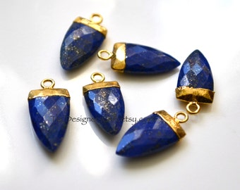 Lapis Lazuli Gold Dipped Marquis Pendant, Lapis Lazuli Pendant, Gold Dipped Pendant  22x11mm