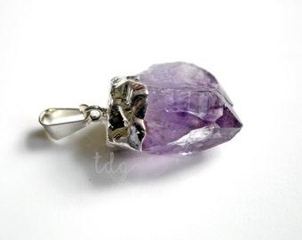 Raw Purple Amethyst Crystal Pendant, Amethyst Crystal, Silver Dipped Amethyst, 28x18mm