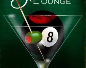 Eight Ball Lounge, Vintage metal sign,  man cave, Bar sign, In STOCK Ready to Ship