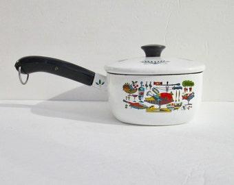 Vintage Georges Briard Enamelware Pot, Saucepan with Lid