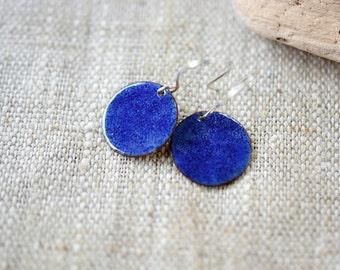 Small enamel earrings - bright blue earrings - sterling silver earwire - artisan jewelry by Alery