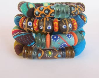 African Beads Bracelets - Stacking Trade Beads bracelets  - African Print Bracelets