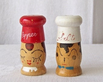 Vintage Salt and Pepper Shakers BBQ Grilling 1950s Backyard Picnic Retro Kitchen