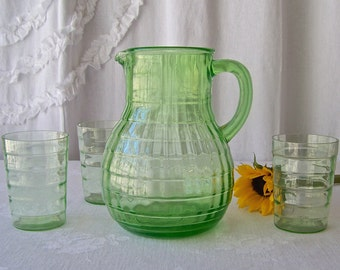 Vintage Vaseline Glass Pitcher and Glasses Green Depression Glass 1930s Backyard BBQ Lemonade