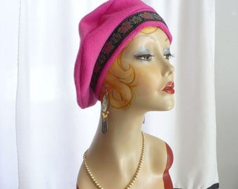 Hot Pink Beret  (lightweight) with Tapestry Trim