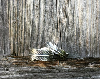 Sterling silver feather ring thin band