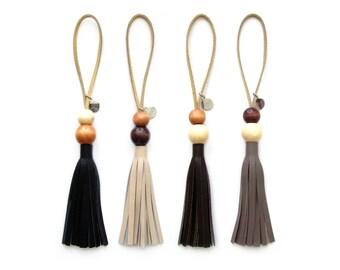 Wood Bead Tassel Lariat | Bag Charm | Leather Loop Tassle | Purse Charm | Tassel Lariat | Bag Charm | Fringe | Beaded Tassel | Upcycled