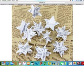 6'Paper Garland Book Page Stars 3 D, Holiday Garland, Paper Garland, Nursery Garland, Wedding Garland, Wedding Decoration