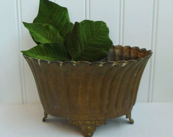 Brass Cache Pot Planter. Vintage Antique Metal Footed Oval Jardiniere. Nice Patina.
