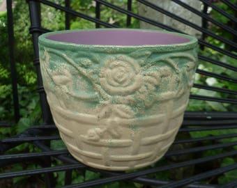 Pottery Jardiniere. Roses on Trellis. Vintage 1940s. Possible Weller. Cream, Green, Pink Orchid. Flower Pot Planter. Cottage, Garden Decor.
