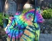 Twin duvet cover set tie dye 100% cotton. Spiral rainbow black contrast student. Duvet set with pillowcase