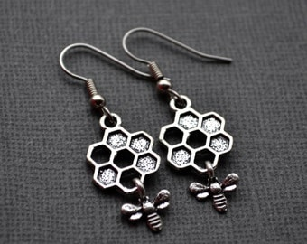 Silver Bee and Honeycomb . Earrings