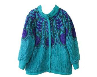 Vintage 80's Teal & Purple Women's Coat Jennifer Chase Size Medium
