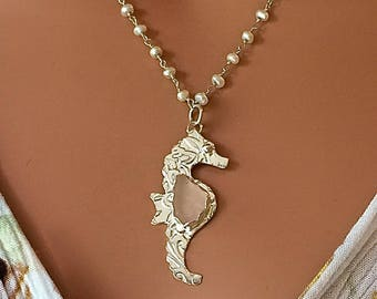 SEA GLASS SEAHORSE Necklace Fine Silver and Sterling Silver Jewelry Pink