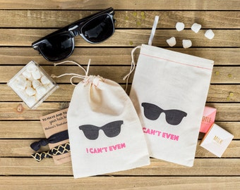 Bachelorette Party Favors - Sunglasses Bachelorette Party Bags - Hangover Kits - Hangover Kit Bags - Hen Party Bags - I Can't Even
