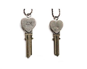 Vintage Sterling Silver Heart Key Necklace . silver heart key pendant . silver key necklace . vintage sterling silver key charm