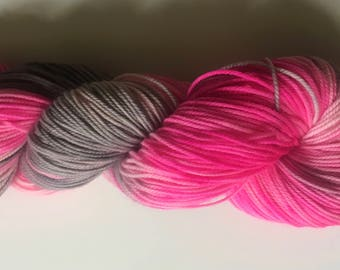 Hand Dyed Yarn Elevator to the Top Hand Dyed Sport Weight Yarn Pink and Gray Yarn Hot Pink and Gray Yarn Variegated Yarn Pink Sock Yarn