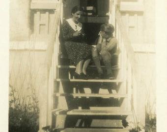 "Vintage Photo ""Mothers Advice Stoop"" Snapshot Antique Photo Old Black & White Photograph Found Paper Ephemera Vernacular - 137"