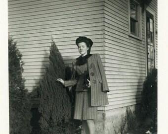 "Vintage Photo ""Dressed Up for Winter Days"" Snapshot Antique Photo Old Black & White Photograph Found Paper Ephemera Vernacular - 149"