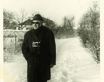 "Vintage Photo ""The Snowman Photographer"" Snapshot Antique Photo Old Black & White Photograph Found Paper Ephemera Vernacular - 53"