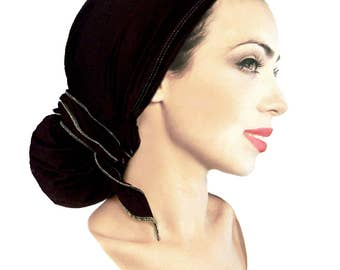Black Silver Sparkle Head-Scarf Soft Cotton Lightweight Metallic Pre-Tied Boho Chic Bandana Tichel Hair Snood Chemo Hat Handmade ShariRose