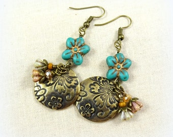 Flower Charm Earrings, TierraCast Dulce Vida Flora Charms, Brass Dangle Earrings, Artisan Boho Rustic Chic Earrings, Turquoise Earrings