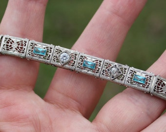 Vintage Sterling Silver Filigree Crystal and Aquamarine Rhinestone Bracelet 1930 Art Deco Era