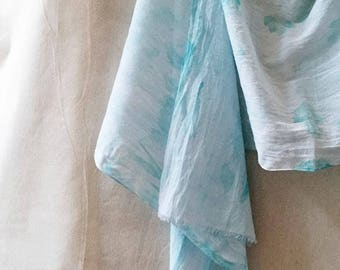 Aqua Blue Scarf, Watercolor Scarf, Blue Scarf, Aqua Scarf, Hand Painted Scarf, Cotton Scarf, Hand Dyed Scarf, Summer Scarf, Boho Style, USA