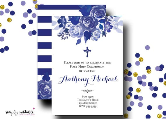 Blue Floral Communion Invitation, Boys Baptism Invitation, Printable Digital, Printed Invites
