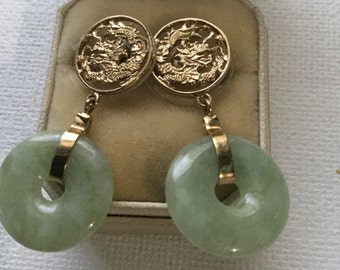 14K Yellow gold and Jadeite earrings    VJSE