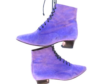 1980s Purple Suede Ankle Boots, Size 36