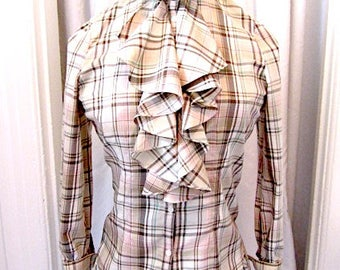 Vintage Ralph Lauren Blouse, ruffle front blouse, plaid RL blouse, plaid Lauren blouse, Ralph Lauren shirt, high neck blouse, cotton shirt