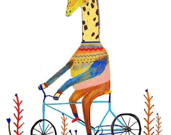 Giraffe biking in nature. home decor - kids wall art - room decor - owl art - children's art prints - illustration - wall decor - gift ideas