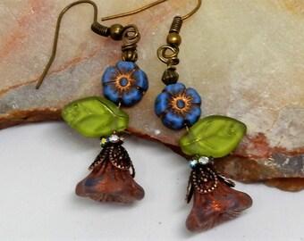 Flower Earrings, Spring Flowers, Boho Earrings, Whimsical Earrings, Spring Flower Drops